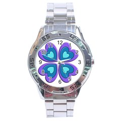Light Blue Heart Images Stainless Steel Analogue Watch by Amaryn4rt