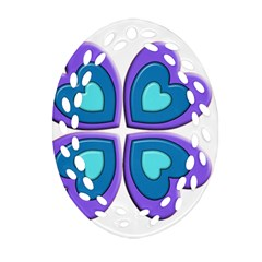 Light Blue Heart Images Oval Filigree Ornament (two Sides) by Amaryn4rt