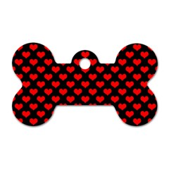 Love Pattern Hearts Background Dog Tag Bone (two Sides)