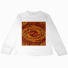 Orange Seamless Psychedelic Pattern Kids Long Sleeve T Shirts by Amaryn4rt