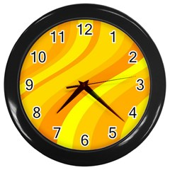 Orange Yellow Background Wall Clocks (black) by Amaryn4rt