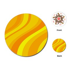 Orange Yellow Background Playing Cards (round)  by Amaryn4rt