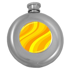 Orange Yellow Background Round Hip Flask (5 Oz) by Amaryn4rt