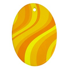 Orange Yellow Background Oval Ornament (two Sides) by Amaryn4rt