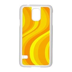 Orange Yellow Background Samsung Galaxy S5 Case (white) by Amaryn4rt