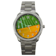 Pattern Colorful Palm Leaves Sport Metal Watch by Amaryn4rt