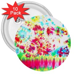 Pattern Decorated Schoolbus Tie Dye 3  Buttons (10 Pack)  by Amaryn4rt