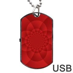 Psychedelic Art Red  Hi Tech Dog Tag Usb Flash (two Sides) by Amaryn4rt