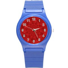 Psychedelic Art Red  Hi Tech Round Plastic Sport Watch (s) by Amaryn4rt