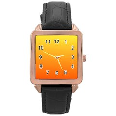 Rainbow Yellow Orange Background Rose Gold Leather Watch  by Amaryn4rt