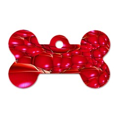 Red Abstract Cherry Balls Pattern Dog Tag Bone (two Sides) by Amaryn4rt