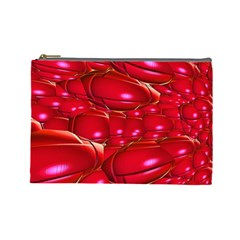 Red Abstract Cherry Balls Pattern Cosmetic Bag (large)  by Amaryn4rt