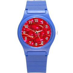 Red Abstract Cherry Balls Pattern Round Plastic Sport Watch (s)