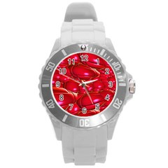 Red Abstract Cherry Balls Pattern Round Plastic Sport Watch (l) by Amaryn4rt