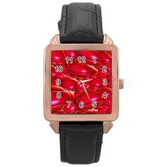 Red Abstract Cherry Balls Pattern Rose Gold Leather Watch  by Amaryn4rt