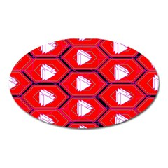Red Bee Hive Oval Magnet by Amaryn4rt