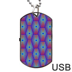 Red Blue Bee Hive Dog Tag USB Flash (One Side) by Amaryn4rt