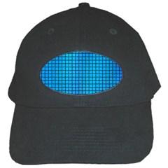 Seamless Blue Tiles Pattern Black Cap by Amaryn4rt