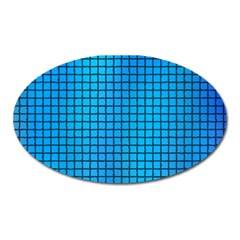 Seamless Blue Tiles Pattern Oval Magnet by Amaryn4rt
