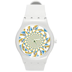 Tech Neon And Glow Backgrounds Psychedelic Art Psychedelic Art Round Plastic Sport Watch (m) by Amaryn4rt