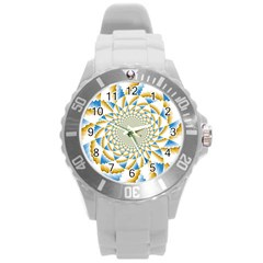 Tech Neon And Glow Backgrounds Psychedelic Art Psychedelic Art Round Plastic Sport Watch (l) by Amaryn4rt