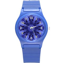 Tech Neon And Glow Backgrounds Psychedelic Art Round Plastic Sport Watch (s)