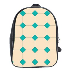 Tile Pattern Wallpaper Background School Bags(large)  by Amaryn4rt