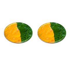 Wet Yellow And Green Leaves Abstract Pattern Cufflinks (oval) by Amaryn4rt