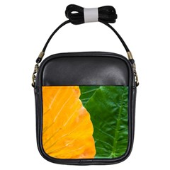 Wet Yellow And Green Leaves Abstract Pattern Girls Sling Bags by Amaryn4rt