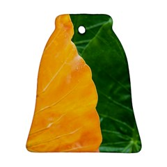 Wet Yellow And Green Leaves Abstract Pattern Bell Ornament (two Sides)