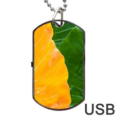 Wet Yellow And Green Leaves Abstract Pattern Dog Tag Usb Flash (one Side) by Amaryn4rt