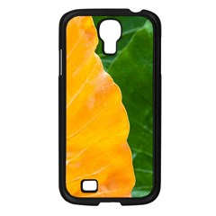 Wet Yellow And Green Leaves Abstract Pattern Samsung Galaxy S4 I9500/ I9505 Case (black) by Amaryn4rt