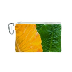 Wet Yellow And Green Leaves Abstract Pattern Canvas Cosmetic Bag (s)