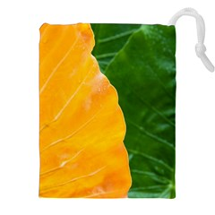 Wet Yellow And Green Leaves Abstract Pattern Drawstring Pouches (xxl)