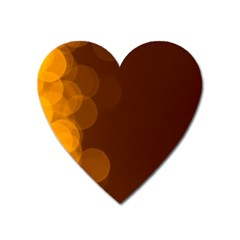 Yellow And Orange Blurred Lights Orange Gerberas Yellow Bokeh Background Heart Magnet by Amaryn4rt