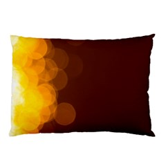 Yellow And Orange Blurred Lights Orange Gerberas Yellow Bokeh Background Pillow Case by Amaryn4rt