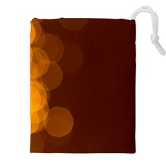 Yellow And Orange Blurred Lights Orange Gerberas Yellow Bokeh Background Drawstring Pouches (xxl) by Amaryn4rt