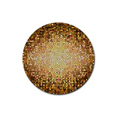 Yellow And Black Stained Glass Effect Rubber Coaster (round)