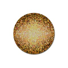 Yellow And Black Stained Glass Effect Magnet 3  (round) by Amaryn4rt