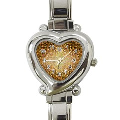Yellow And Black Stained Glass Effect Heart Italian Charm Watch by Amaryn4rt