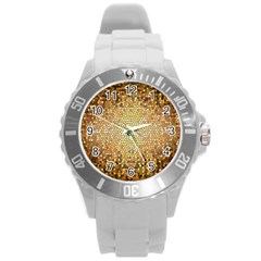Yellow And Black Stained Glass Effect Round Plastic Sport Watch (l) by Amaryn4rt