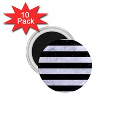 Stripes2 Black Marble & White Marble 1 75  Magnet (10 Pack)  by trendistuff
