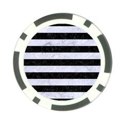 Stripes2 Black Marble & White Marble Poker Chip Card Guard by trendistuff