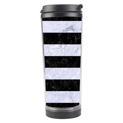 Stripes2 Black Marble & White Marble Travel Tumbler by trendistuff