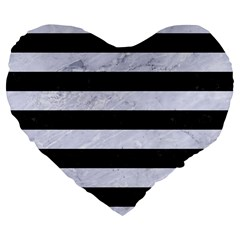 Stripes2 Black Marble & White Marble Large 19  Premium Flano Heart Shape Cushion by trendistuff