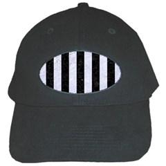 Stripes1 Black Marble & White Marble Black Cap by trendistuff