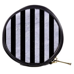 Stripes1 Black Marble & White Marble Mini Makeup Bag by trendistuff