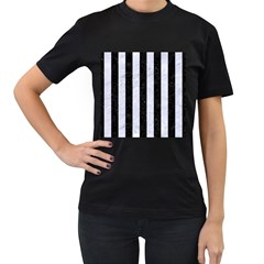 Stripes1 Black Marble & White Marble Women s T Shirt (black)