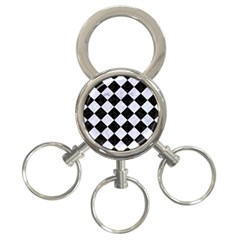 Square2 Black Marble & White Marble 3 Ring Key Chain by trendistuff