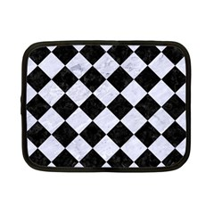 Square2 Black Marble & White Marble Netbook Case (small) by trendistuff